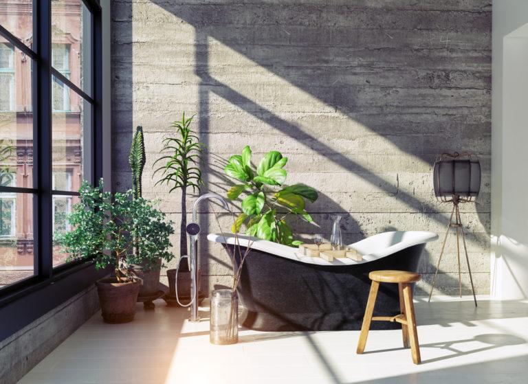 Modern loft bathroom interior. Glass wall 3d concept